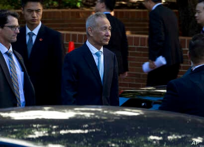 Chinese Vice Premier Liu He leaves after a ministerial-level trade meeting at the Office of the United States Trade Representative, in Washington, Oct. 11, 2019.