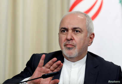 FILE - Iran's Foreign Minister Javad Zarif reacts during a news conference with Russia's Foreign Minister Sergei Lavrov (not pictured) in Moscow, Russia, Sept. 2, 2019.