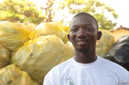Alhassan Baba Muniru wants to clean up Ghana and create jobs for young people, Nov. 12, 2019. (Stacey Knott/VOA)