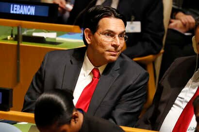 Israeli Ambassador to the United Nations Danny Danon listens to speakers at the 74th session of the United Nations General…