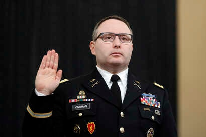 National Security Council aide Lt. Col. Alexander Vindman is sworn in to testify before the House Intelligence Committee