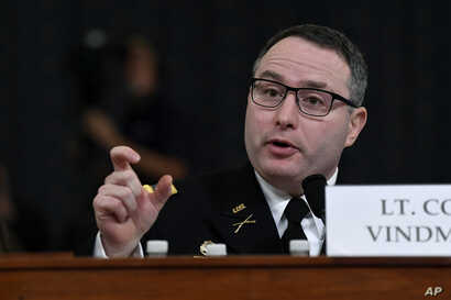 National Security Council aide Lt. Col. Alexander Vindman testifies before the House Intelligence Committee on Capitol Hill in Washington, Nov. 19, 2019.