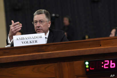 Ambassador Kurt Volker, former special envoy to Ukraine, testifies before the House Intelligence Committee on Capitol Hill in Washington, Nov. 19, 2019.