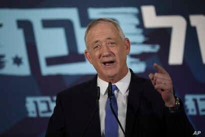 Blue and White party leader Benny Gantz addresses media in Tel Aviv, Israel, Nov. 20, 2019.