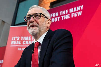 Britain's Labour Party leader Jeremy Corbyn speaks during a press conference in London, Friday, Dec. 6, 2019, ahead of the…