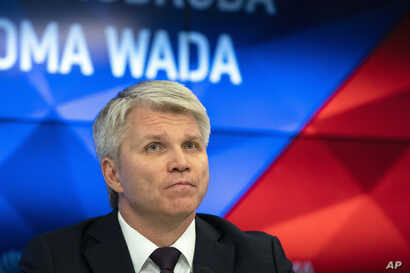 Russian Sports Minister Pavel Kolobkov speaks to the media in Moscow, Russia, Monday, Dec. 9, 2019. The World Anti-Doping…