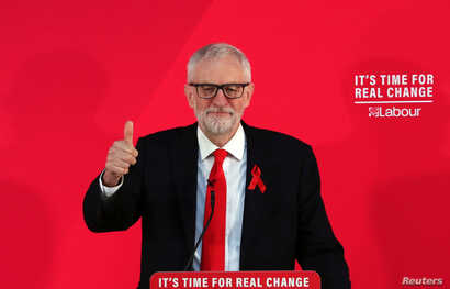 Britain's opposition Labour party leader Jeremy Corbyn gestures during a general election campaign event in York, Britain, Dec. 1, 2019.