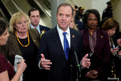 House Impeachment Manager Rep. Adam Schiff (D-CA) speaks to the media as the impeachment trial continues