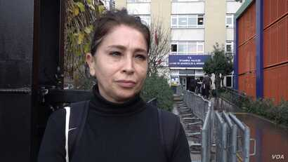 Suna Ustun waited hours to register her opposition to Canal Istanbul, which says it is a waste of money and threatens the environment. (Dorian Jones/VOA)