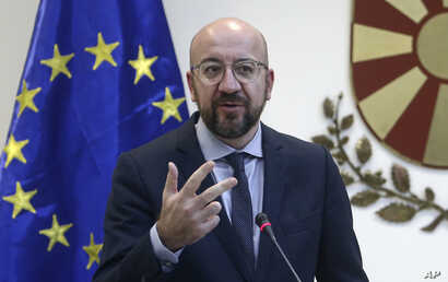 European Council President Charles Michel talks to the media during a news conference with North Macedonia's President Stevo…