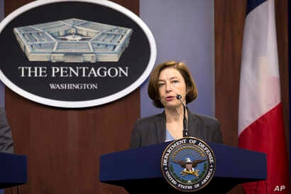 French Minister of Armed Forces Florence Parly speaks during a news conference at the Pentagon in Washington, Monday, Jan. 27,…