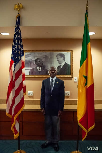 Tulinabo Mushingi, the U.S. ambassador to Senegal and Guinea-Bissau, poses for a portrait at the U.S. Embassy in Dakar, Senegal Feb. 14, 2020. (Photo: Annika Hammerschlag/VOA)