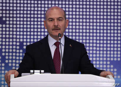 Turkey's Interior Minister Suleyman Soylu speech during a meeting to discuss cooperation on migration management in Ankara,…