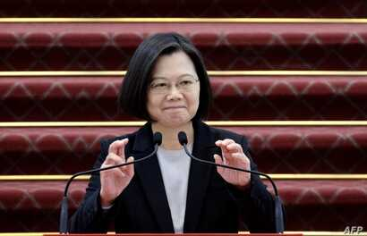 Taiwan President Tsai Ing-wen speaks during a press conference at the presidential office in Taipei in January 22, 2020. (Photo…