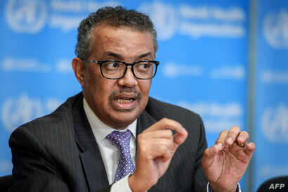 World Health Organization (WHO) Director-General Tedros Adhanom Ghebreyesus speaks during a daily press briefing on COVID-19…