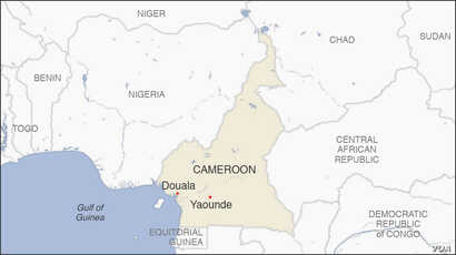 Map of Douala and Yaounde Cameroon