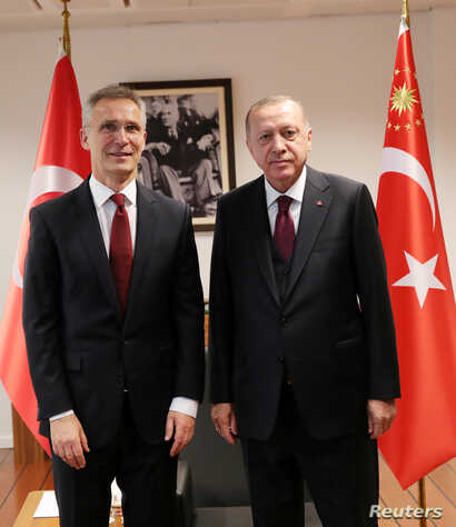 Turkish President Tayyip Erdogan meets with NATO Secretary General Jens Stoltenberg in Brussels, Belgium, March 9, 2020…