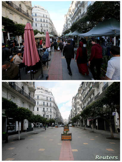 A combination picture shows a street in downtown Algiers on March 12, 2020 (top) and after the coronavirus disease (COVID-19)…