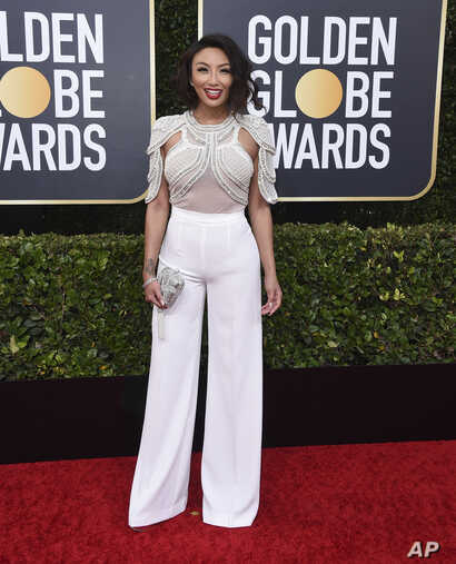 Jeannie Mai arrives at the 77th annual Golden Globe Awards at the Beverly Hilton Hotel on Sunday, Jan. 5, 2020, in Beverly…