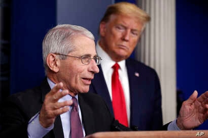 President Donald Trump watches as Dr. Anthony Fauci, director of the National Institute of Allergy and Infectious Diseases, speaks about the coronavirus in the James Brady Press Briefing Room of the White House in Washington, April 22, 2020.