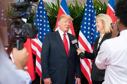 FILE - Greta Van Susteren interviews President Donald Trump in Singapore, Aug 12, 2018. (White House photo by Shealah Craighead)