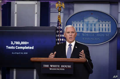 Vice President Mike Pence speaks about the coronavirus in the James Brady Press Briefing Room of the White House, in Washington, April 17, 2020.