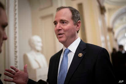House Intelligence Committee Chairman Adam Schiff, D-Calif., talks to reporters on Capitol Hill in Washington, March 3, 2020.