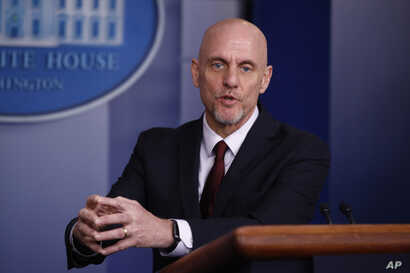 Food and Drug Administration Commissioner Dr. Stephen Hahn speaks during a coronavirus task force briefing at the White House, April 4, 2020, in Washington.