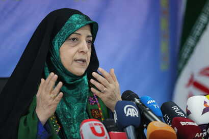 Vice President of Iran for Women and Family Affairs, Massoumeh Ebtekar, speaks to reporters during a press conference in Tehran…