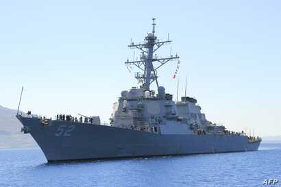 In this file picture downloaded from the US Navy website, taken on April 29, 2013, the guided-missile destroyer USS Barry (DDG…