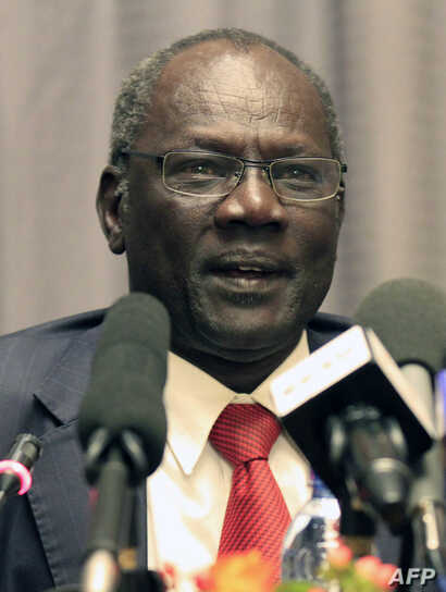 South Sudan Minister for Information and Broadcast, Michael Makuei gives a press conference on January 5, 2014 in the Ethiopian…