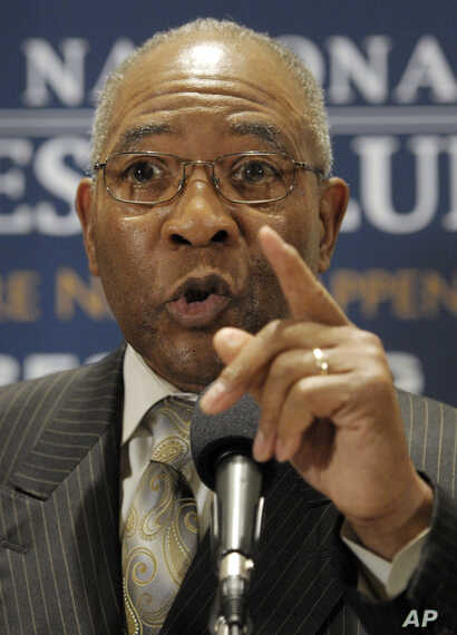 Rev. Dr. Amos Brown, senior pastor of Third Baptist Church, San Francisco, Calif., speaks during an African-American clergy…