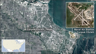 Map of Corpus Christi Texas, showing an inset of Naval Air Station Corpus Christi