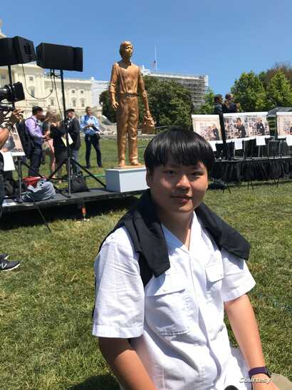 """Derrick Yu attends """"Tank Man"""" statue unveiling ceremony at Capitol Hill in June 2019.(Courtesy photo)"""
