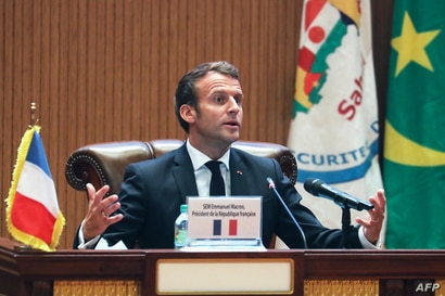 French President Emmanuel Macron speaks during the closing press conference at the G5 Sahel summit on June 30, 2020, in…