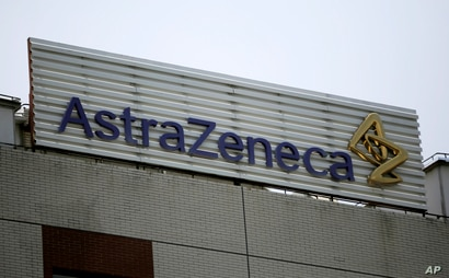 FILE - This July 24, 2013, file photo shows the AstraZeneca logo on the company's building in Shanghai, China. On Wednesday,…