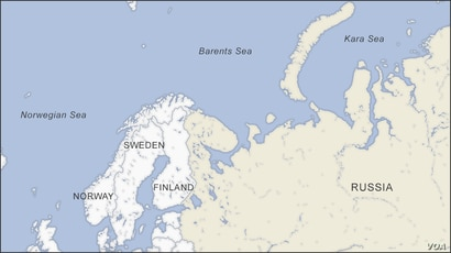 Map of Barents Sea showing Norway, Sweden, Finland and Russia