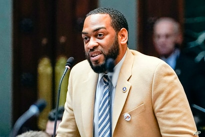 FILE - Kentucky Democratic State Representative Charles Booker speaks on the floor of the House of Representatives, in the State Capitol in Frankfort, Kentucky, Feb. 19, 2020.
