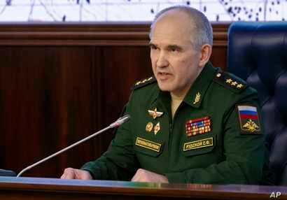 FILE - Col. Gen. Sergei Rudskoi of the militarys General Staff speaks during a briefing at the Russian Defense Ministry in Moscow, April 14, 2018.