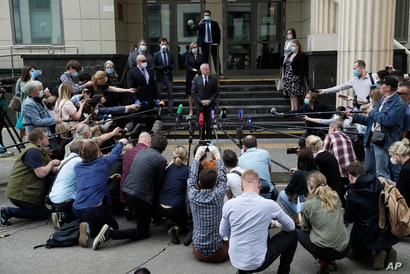 U.S. Ambassador to Russia John Sullivan speaks to the media at the Moscow City Court building after the verdict announcement for American Paul Whelan in Moscow, Russia, June 15, 2020.