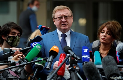 Vladimir Zherebenkov, lawyer of former U.S. Marine Paul Whelan, who was detained and accused of espionage, addresses the media in Moscow, Russia, June 15, 2020.