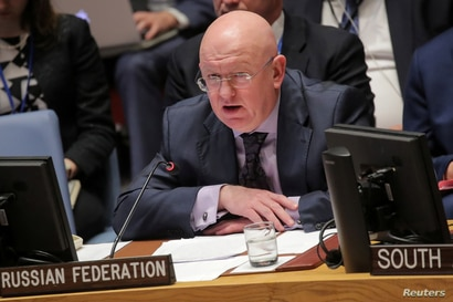 Vassily Nebenzia, Russian Ambassador to the United Nations, addresses the United Nations Security Council at U.N. headquarters…