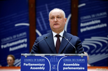 Moldova's President Igor Dodon addresses the Parliamentary Assembly of the Council of Europe in Strasbourg, France, January 29,…