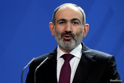FILE PHOTO: Armenia's Prime Minister Nikol Pashinyan at the Chancellery in Berlin, Germany, February 13, 2020.  REUTERS…