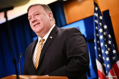 U.S. Secretary of State Mike Pompeo gives a news conference about dealings with China and Iran.