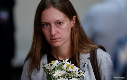 Russian journalist Svetlana Prokopyeva charged with publicly justifying terrorism arrives for a court hearing in Pskov, Russia…