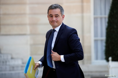 Newly appointed French Interior Minister Gerald Darmanin arrives to attend the weekly cabinet meeting at the Elysee Palace in…