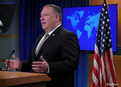 U.S. Secretary of State Mike Pompeo speaks during a news conference at the State Department in Washington, July 8, 2020.