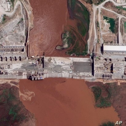 A satellite image taken May 28 shows the Grand Ethiopian Renaissance Dam on the Blue Nile river in the Benishangul-Gumuz region of Ethiopia.