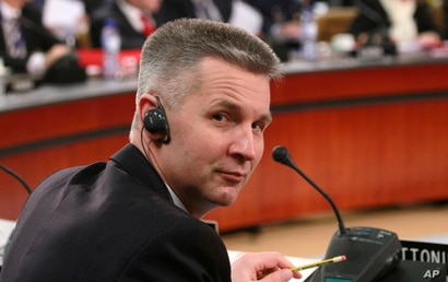 Latvian Defense Minister Artis Pabriks attends a round table meeting of NATO defense ministers at NATO headquarters on Thursday…